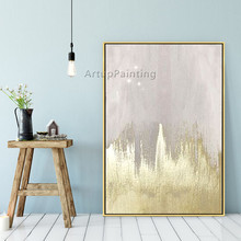 Nordic style canvas painting acrylic golden modern abstract Wall art Pictures For Living Room Home caudros decoracion01