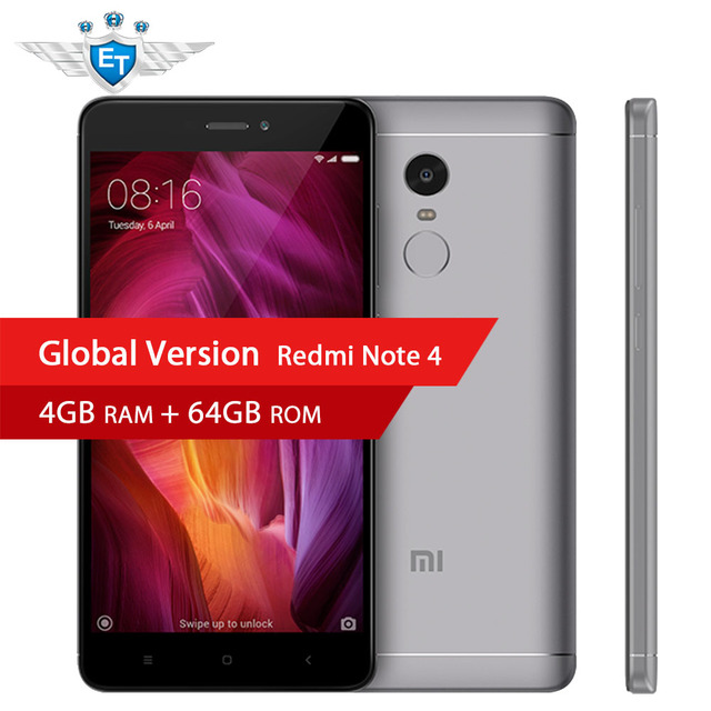 Глобальная версия Xiaomi Redmi Note 4 Qualcomm 4 ГБ 64 ГБ Смартфон Snapdragon 625 Octa Core 5.5 ''1080 P 4100 мАч 13MP FCC CE 4 г LTE
