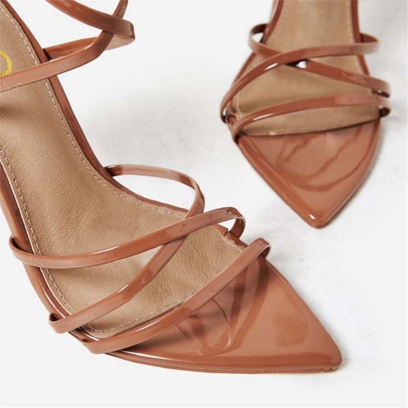 Ouqinvshen Peep Toe Yellow Women Summer Shoes Stiletto Fashion Plus Size 32-48 Sexy Casual Women Heels Buckle Cross-tied Pumps