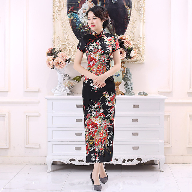 c875518ed03 Summer Women Short Sleeve Qipao Elegant Satin Print Flower Cheongsam  Chinese Vintage Mandarin Collar Vestidos Plus Size S-6XL