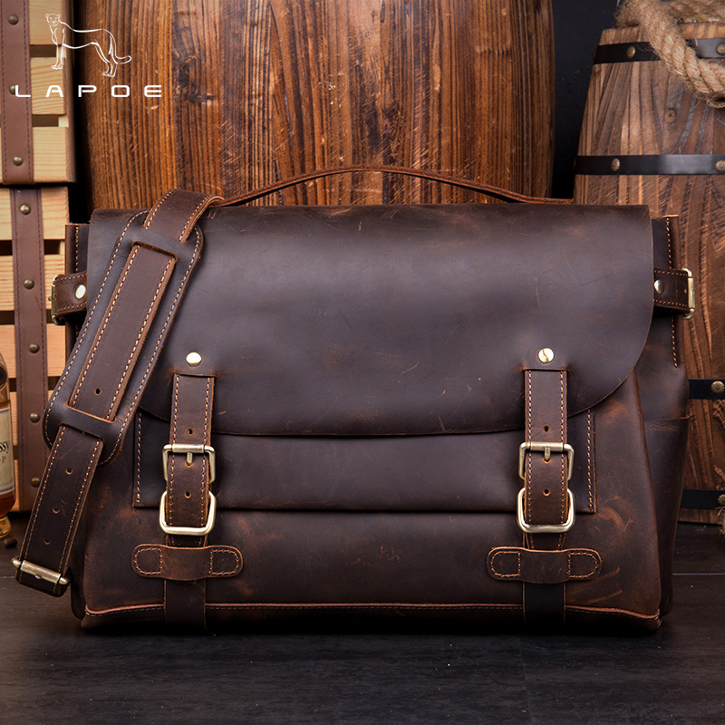 LAPOE Brand Retro Crazy Horse Genuine Leather Men's Classic Messenger Shoulder Bag Casual Travel Laptop Notebook Business Bags maritime travel log classic vintage retro classic pu leather blank pages copper plated sea anchor and straps sketchbook notebook