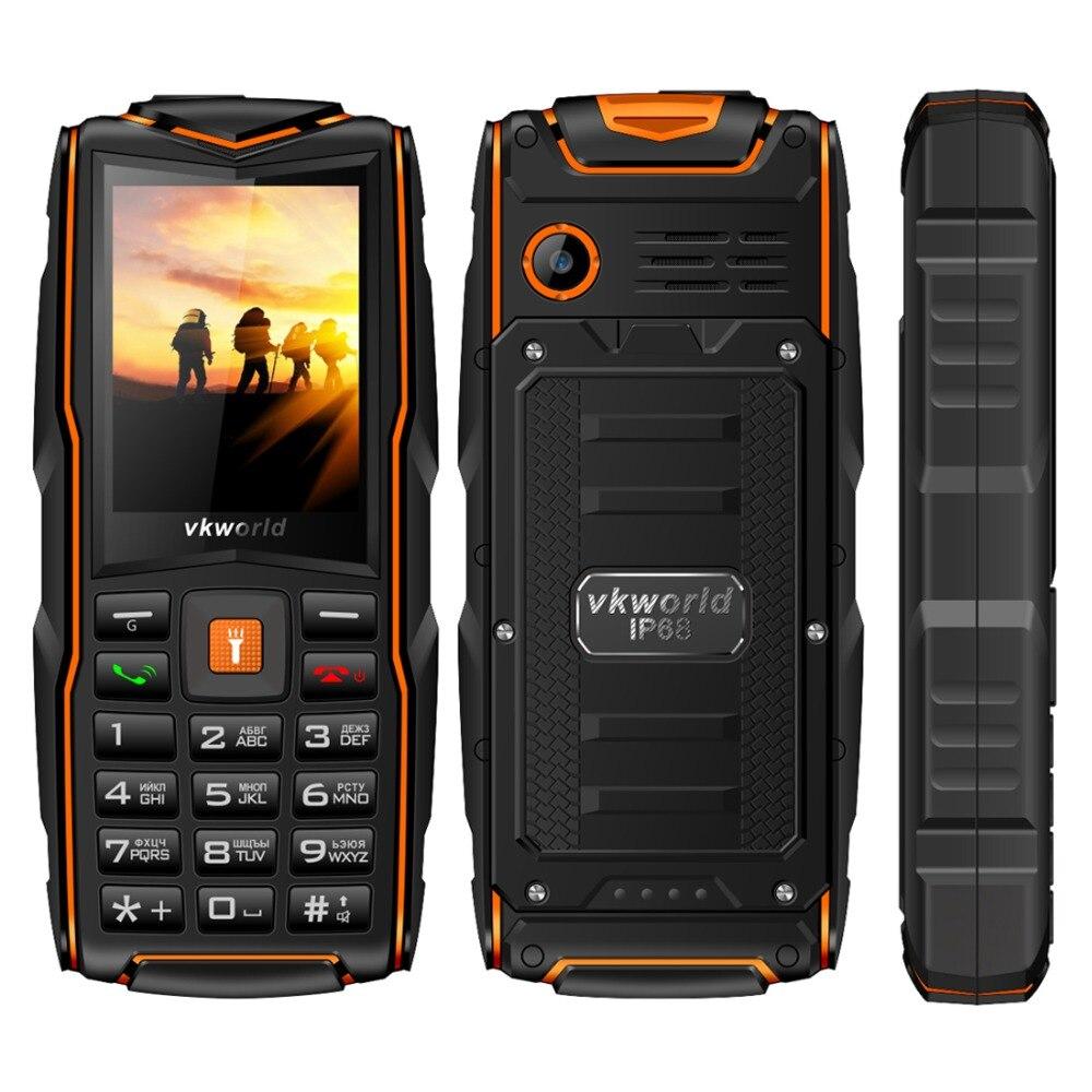 VKWorld New Stone V3 Telefono Mobile Impermeabile IP68 2.4 pollice GSM FM Tastiera Russa 3 Schede SIM Slot 3000 mAh Cellulare HA CONDOTTO LA Luce