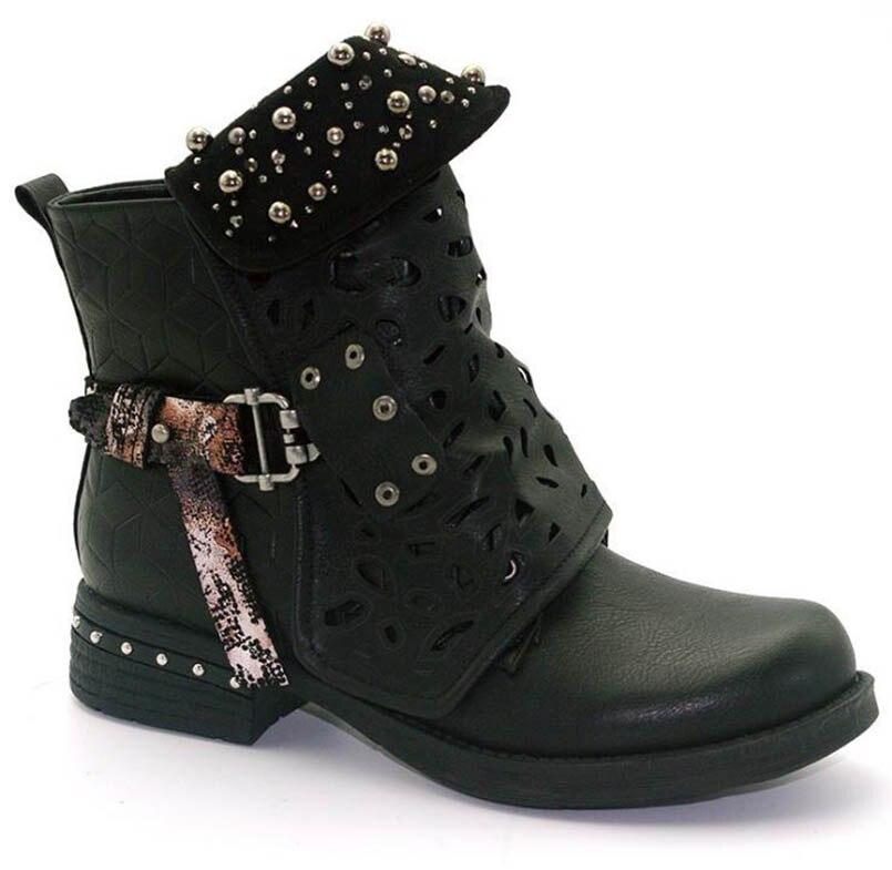 Tamaño Hebilla Mujeres Corto Europa Mujer Tallado Esposado Cinturón Zapatos Negro Tubo Martin Las gris Remache Gran Botas américa Hueco Fidanei naranja De wTqEBB