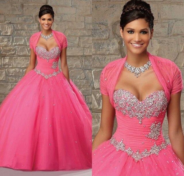 2f33782b1 Hot Pink vestido para 15 años 2015 vestidos del Quinceanera bola de dos  piezas traje de