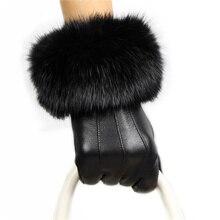 Gloves Women Winter Leather Black Rabbit Fur Plus Velvet Thickening Women'S Gloves Sheepskin Gloves 092-5