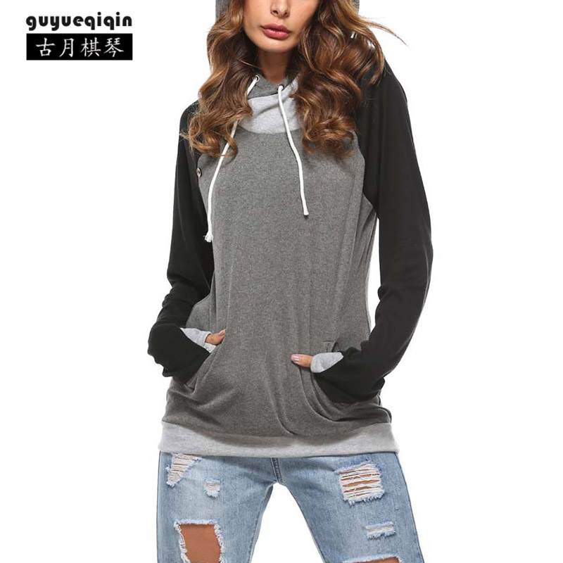 Fashion Spring Autumn Splicing Hoodies For Women 6 Colors Draw Cord Femme Hooded Hoodies Long Sleeve Poleron Mujer Plus Size 2XL