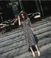 Summer New Style Floral Printed Casual Chiffon Dress Elastic Waist Slim Vintage Dress Flare Sleeve Bowknot