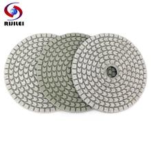 RIJILEI 10PCS/Set 4inch Diamond Polishing Pads 100mm Wet white polishing pad for stone concrete floor Free shipping HC16