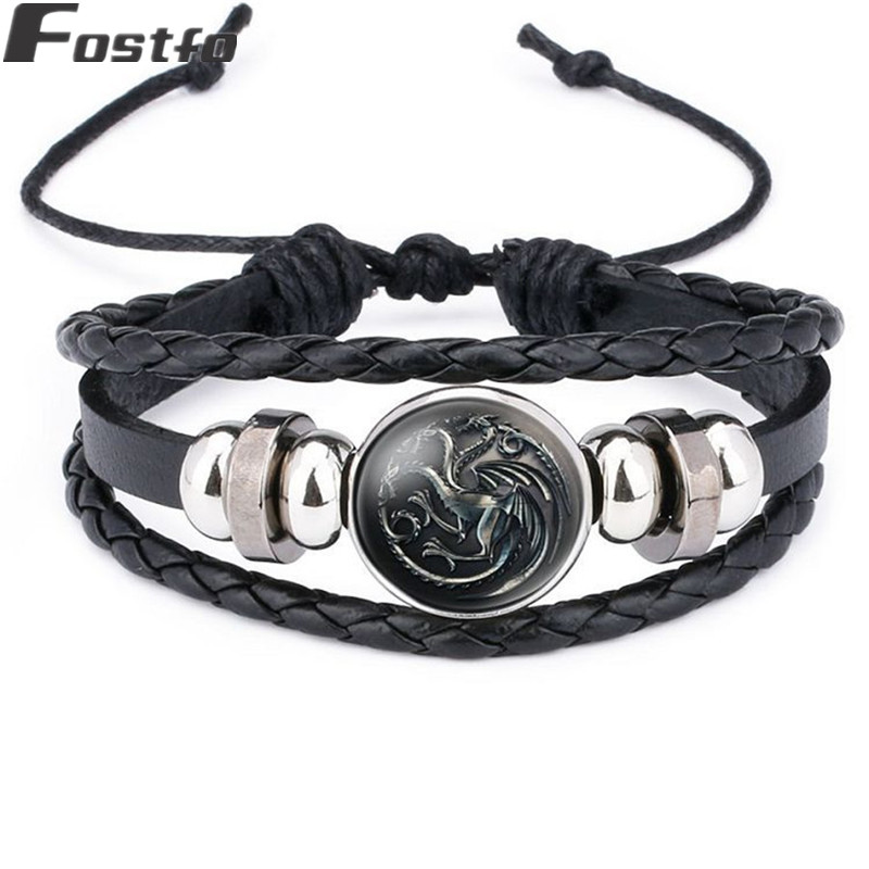 Game of Thrones Nine House Symbol Bangle Bracelet Men Women Alloy Braid Black Leather Glass Charms Bracelet Bracelets Wristband Браслет