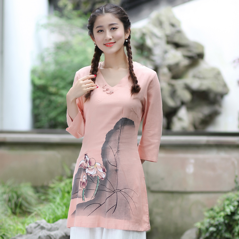 Spring Summer New Pink Women's Cotton Linen Shirt Printed Flower Long Blouse Chinese Style Clothing S M L XL XL XXL XXXL 2622
