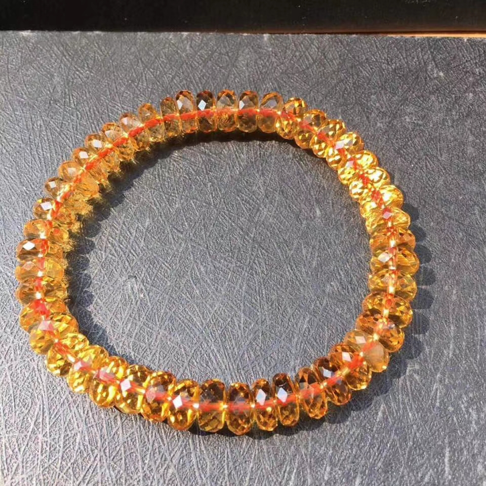Women Bracelet Round-Beads Natural-Citrine Top-Quality Wealthy-Stone Yellow 10mm 8mm