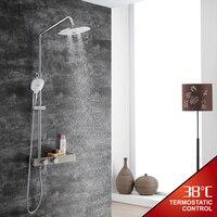 HIDEEP Bathroom Shower Faucet Set Bathroom Shower Tap Wall Mount Faucet Mixer Wall Shower Set Waterfall Massage Big Shower