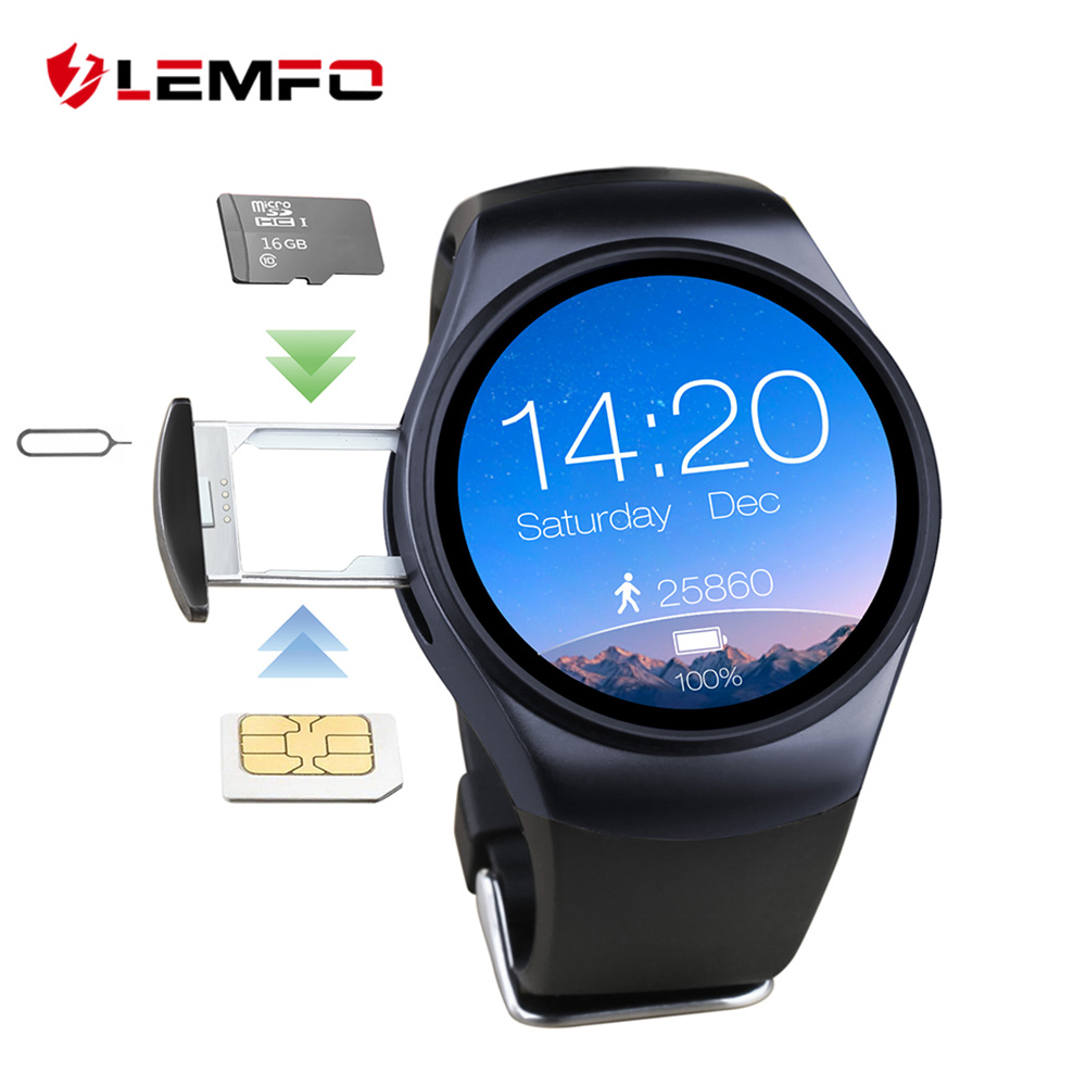 Prix pour Hot! LEMFO LF18 Bluetooth Smartwatch 1.3 Pouce IPS LCD Écran Rond Soutien de fréquence Cardiaque/Podomètre Pour Android IOS Téléphone