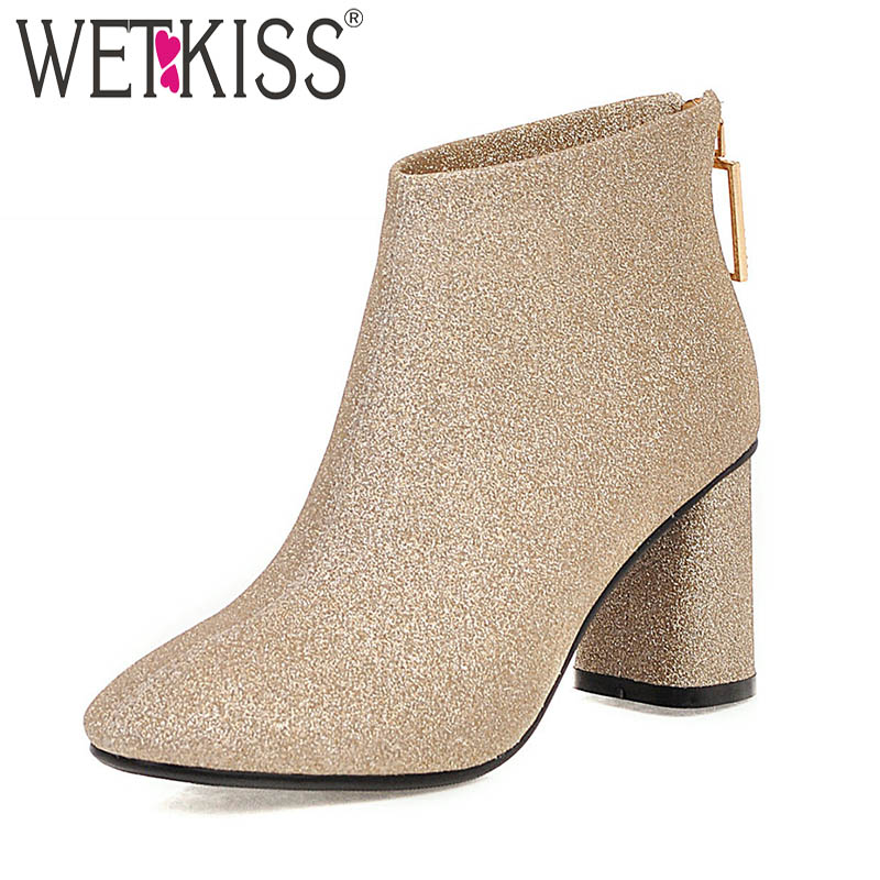 WETKISS Sequined Boots Women Ankle Boot Female Party Bling Shoes Ladies Square Toe Zip Shoes Winter 2020 Plus Size 32-48