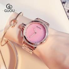 лучшая цена GUOU Ladies watch luxury stainless steel watches fashion simple style diamond dial quartz Women Wristwatch Rose Relogio feminino