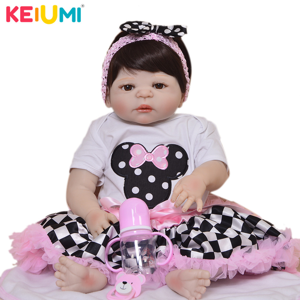 Cute 23 57 cm Doll Reborn Babies Full Silicone Vinyl Body Reborn Dolls Princess Children Playmates