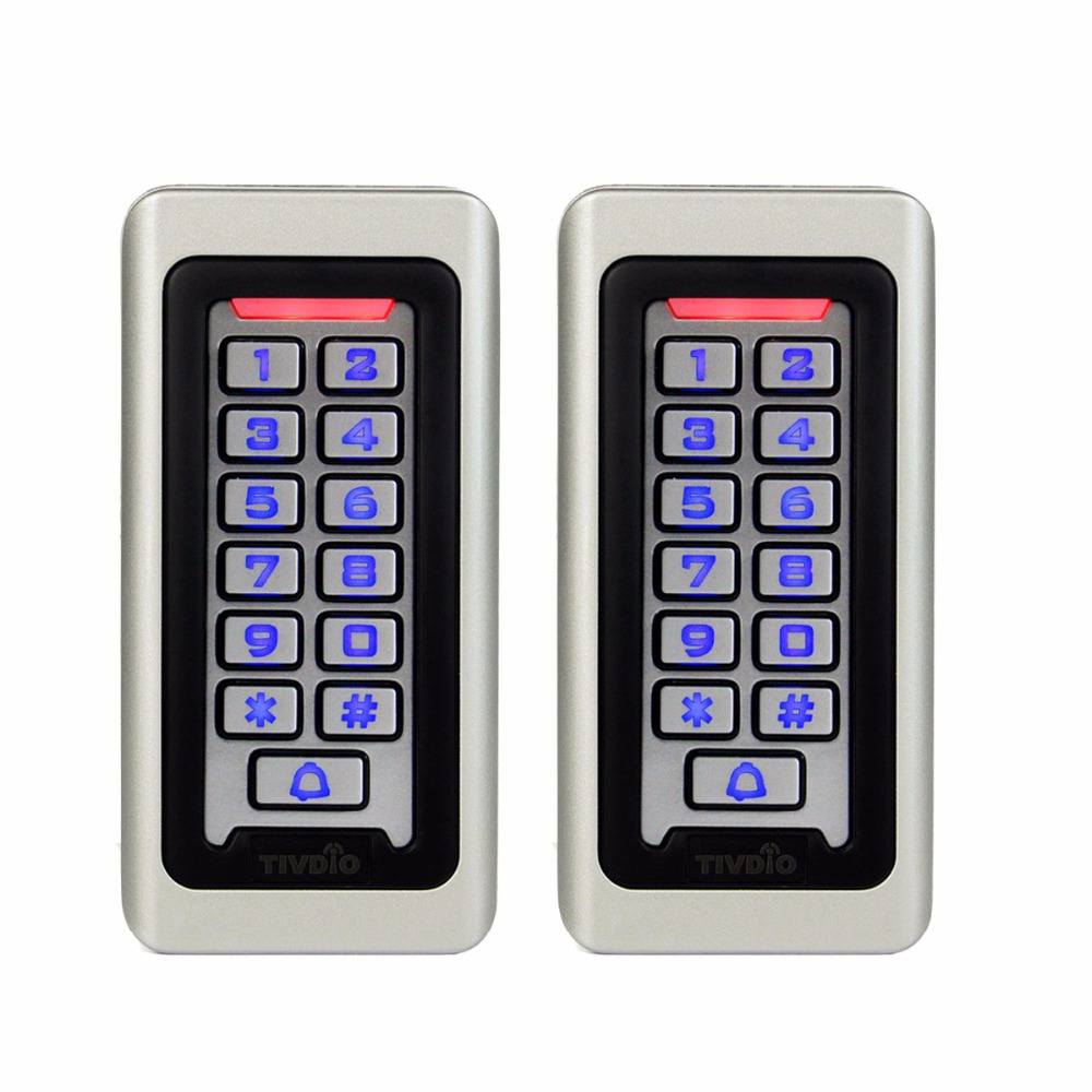 2pcs Waterproof Metal Case Keypad For RFID Proximity Card Standalone Access Control& 2000 Users For Outdoor& Indoor Silver F9501 rfid proximity 125khz em card reader led keypad standalone 2000 users door access control waterproof metal case