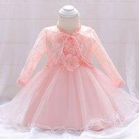 Summer Elegant Lace Princess Wedding Costume Newborn Christening Gown Baby Girl Dresses Baptism Birthday Girl Bow Infant Dress