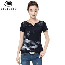 CIVICHIC Women Chinese Style Lotus Flower Print T-shirt Sexy V Neck Tops Lace Stitched Cot