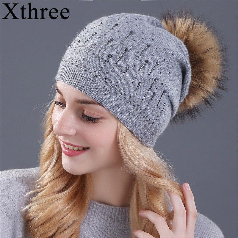 Topi musim sejuk Xthree untuk wanita bulu arnab bulu knitted hat beanies mink sebenar dan bulu rubah pom poms topi skullies hat wanita feminino
