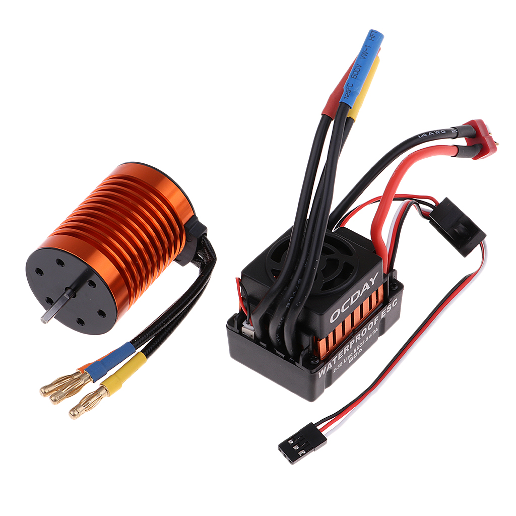 4370KV Brushless Motor & 60A Brushless ESC Waterproof with 5.5V/3A BEC Set for HSP HPI 1:10 RC Car parts цена