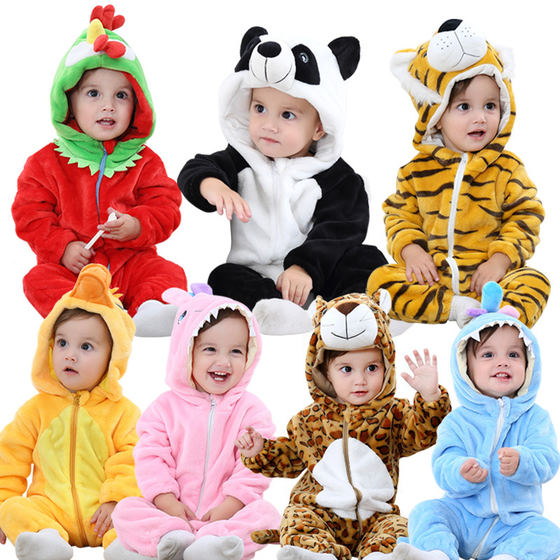BINIDUCKLING Autumn Winter Flannel Baby Boy Clothes Cartoon Animal Jumpsuit Baby Girl Rompers Long Sleeve Hooded Infant Clothing autumn newborn baby cotton rompers cartoon fox long sleeve boy clothes jumpsuit infant girls animal hooded costume baby product