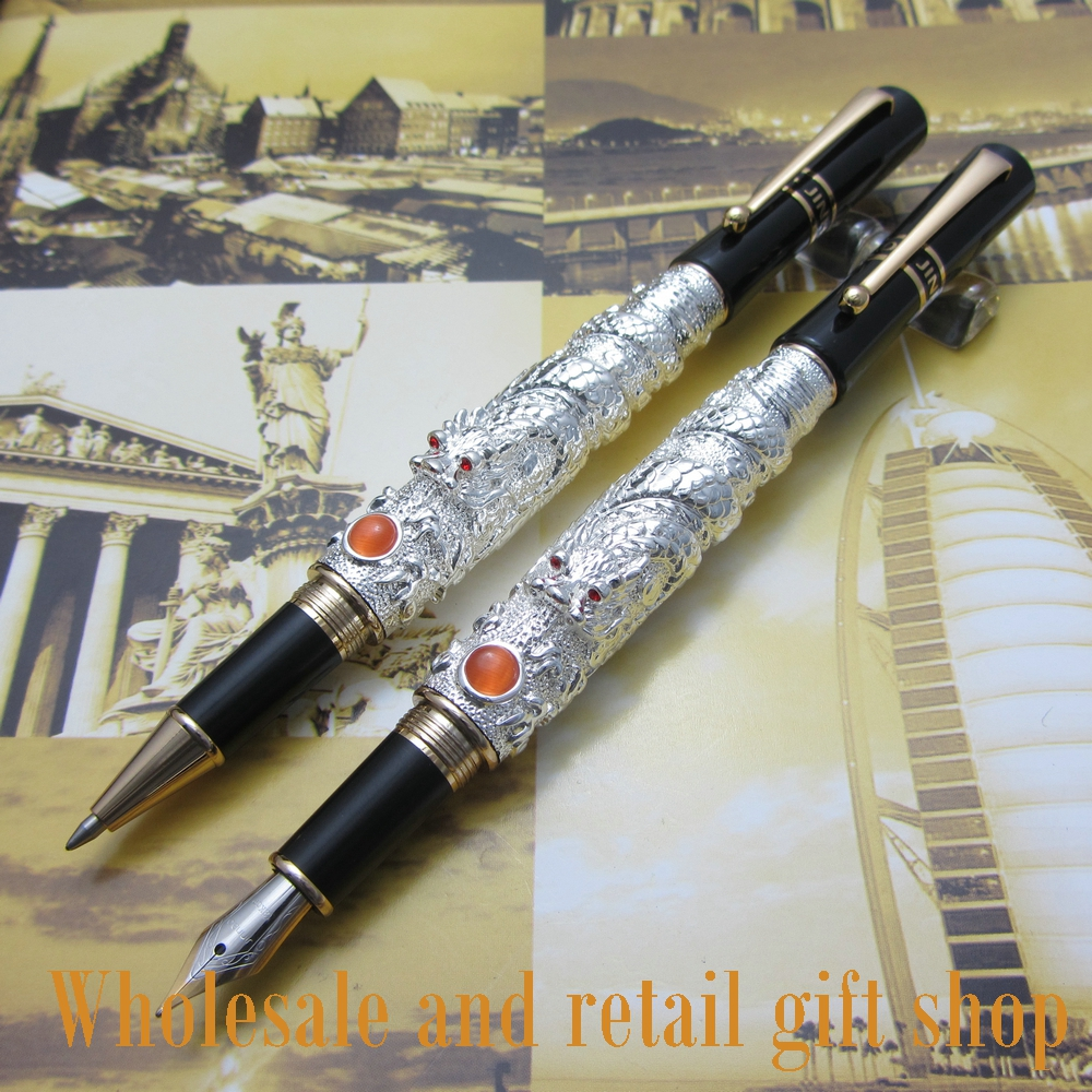 2pcs JINHAO Fountain Pen Silver flying dragon Office gift pen roller ball pen jinhao 189 noblest ancient silver medium 0 7mm nib great wall pen