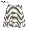 T-Shirt Women New 2016 Fashion Korean Casual Striped Long Sleeve Women Tops O-Neck Loose Cotton T-Shirt Female One Size MA0590
