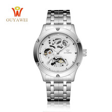 OUYAWEI Luxury Luminous Automatic Mechanical Skeleton Dial Stainless Steel Band Wrist Watch Men Women Best Gift M106  все цены