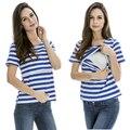 Enfermería de maternidad Tops Lactancia Materna Ropa de manga corta de Verano de Rayas Camiseta 2015 Nuevo estilo Caliente al por mayor