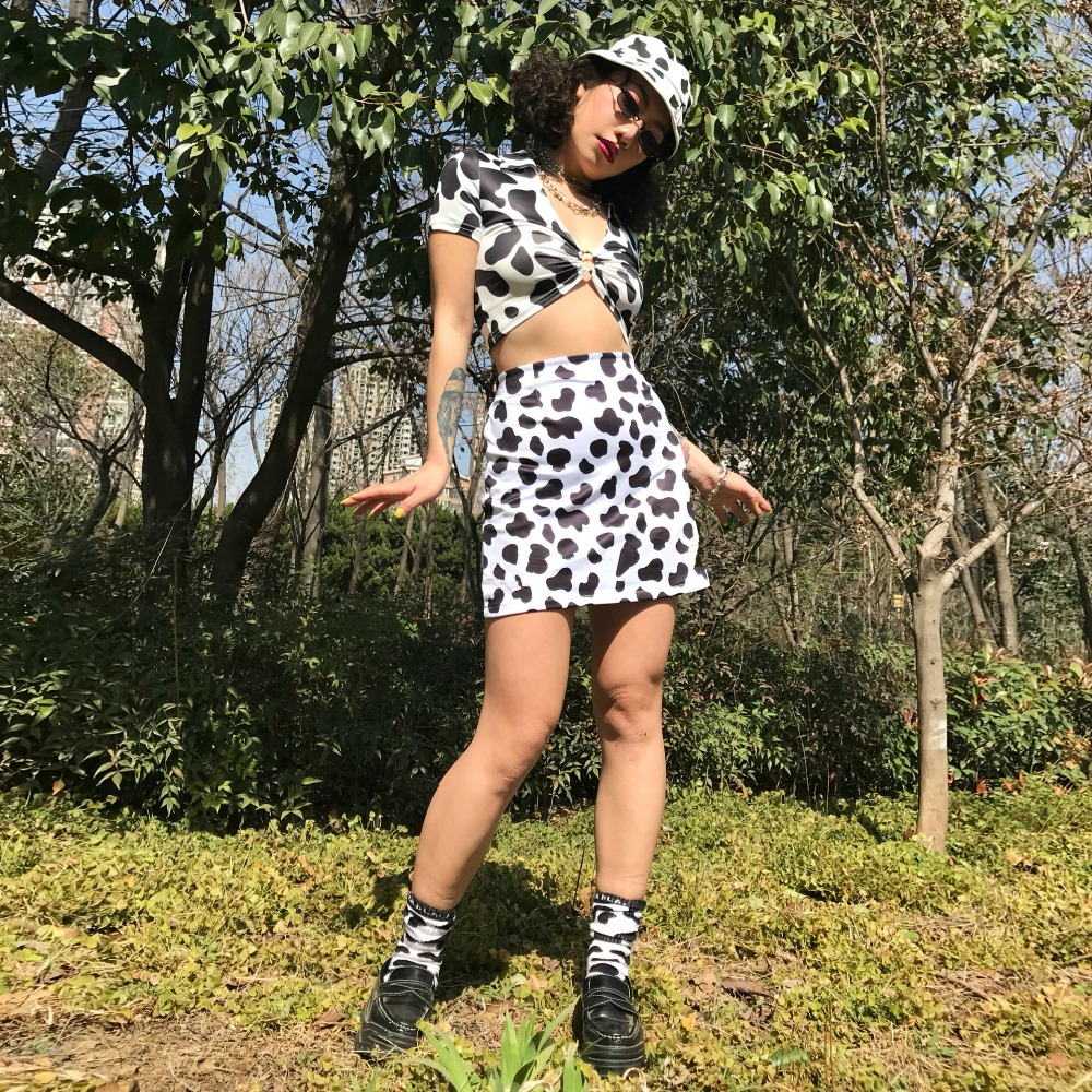 HTB1js75NgHqK1RjSZFkq6x.WFXaU - Dairy Cow Print Sexy Two Piece Set 2 Piece Set Women Two Piece Outfits Crop Top And Skirt Set Streetwear Bodycon Matching Sets