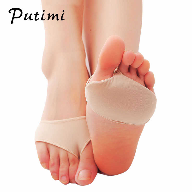 Putimi Fabric Gel Pads for Feet Care Slip Resistant Metatarsal Cushions Pads Silicone Forefoot Pain Support Front Foot Care Tool