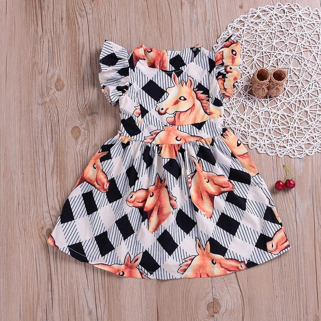 MUQGEW Baby Girl Clothes Summer Children Baby  Kids Girls  Stripe Horse Print Leisure Princess Dress Dropshipping Roupa Infantil