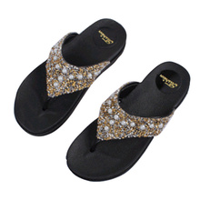 Womens Slippers Summer Fashion Sequins Rhinestone Flip-Flops Outdoor Casual Pearl Thick-soled Sandals Female Beach