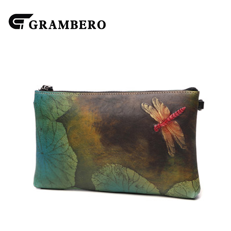 National Style Hand Painted Lotus Leaf Dragonfly Women Bag Soft Top Leather Zipper Vintage Clutch Wallet Shoulder Crossbody Bags ...