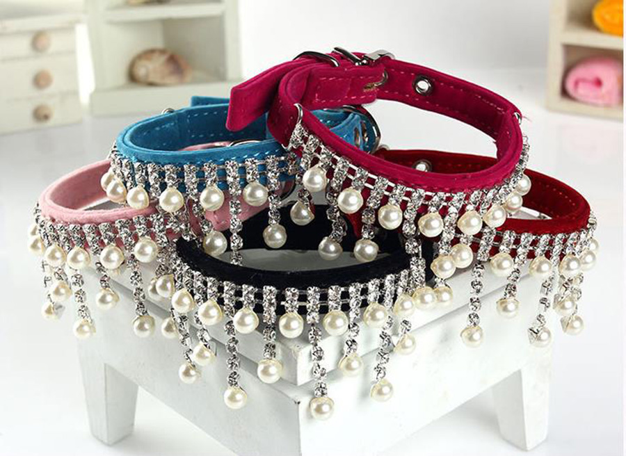 24pcs/lot Hot Sale Personalized Rhinestone Dog Collar,crystal Pearl Necklace Cats Pet Handmade Jeweled Bling Collars