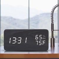 LED Time Humidity Display Wooden Alarm Clock Electronic Clocks Desk Digital LED Alarm Clock Sound Voice Control Light Digital