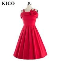 KIGO Elegant Red 1950s Vintage Dresses Fashion Plus Size Woman Rockabilly Dress Retro Audrey Hepburn Pin