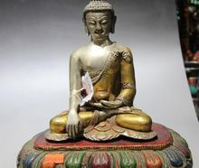 Тибет Серебро Золото Золоченой Древесины Стенд Картины Шакьямуни Шакьямуни Buddhs Статуя