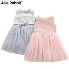 AiLe Rabbit 2017 New Arrival Girl Dresses Fashion Princess Party Birthday Gift Brand High Quality Sleeveless Summer Kids Clothes