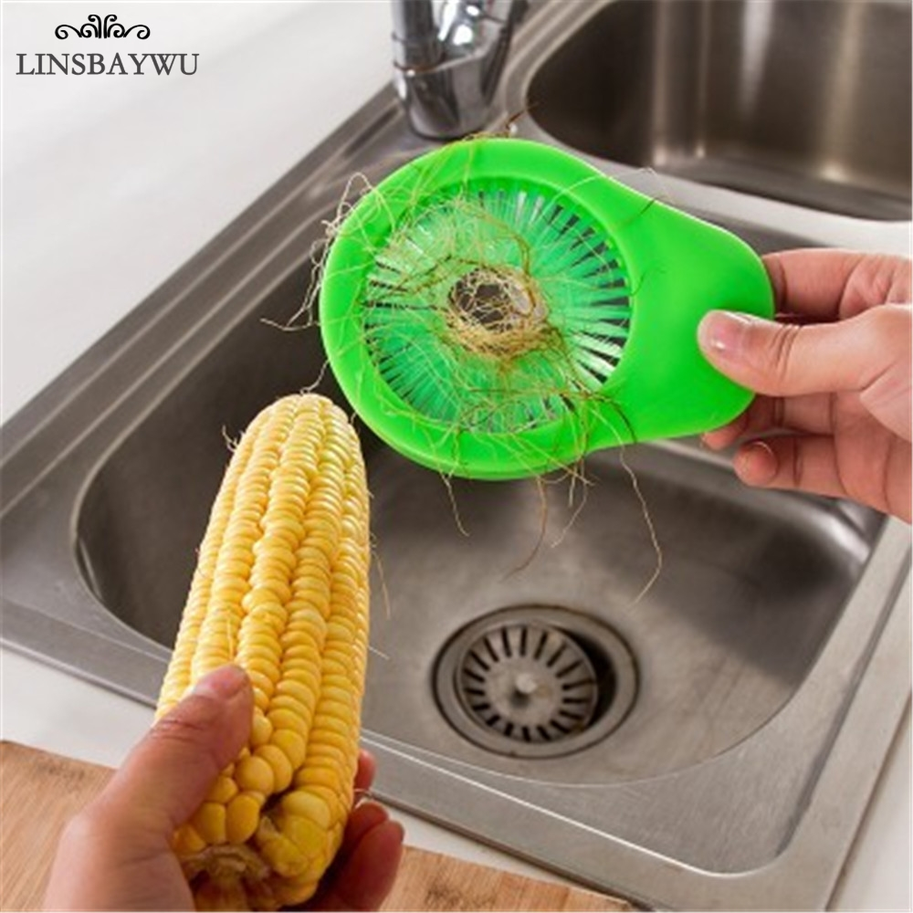 LINSBAYWU Plastic Portable Corn Brush Fruit Vegetable Cucumber Potato Cleaner Kitchen