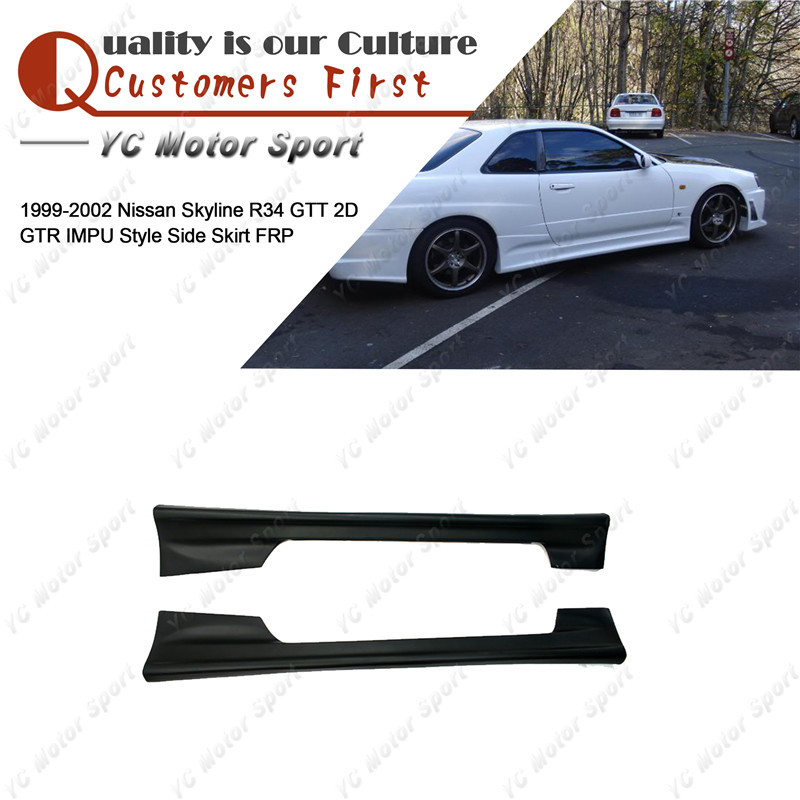Car Accessories FRP Fiber Glass IMPU Style <font><b>Side</b></font> <font><b>Skirts</b></font> Fit For 1999-2002 Skyline <font><b>R34</b></font> GTT 2D <font><b>GTR</b></font> <font><b>Side</b></font> <font><b>Skirt</b></font> Cover image