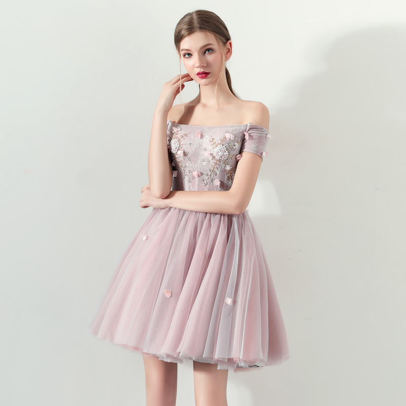 925e2da8c30ef He's Bride Pink New Elegant Cocktail Dress Strapless Short Sleeves Ball  Gown Appliques Knee-length Flowers Party Formal Vestidos