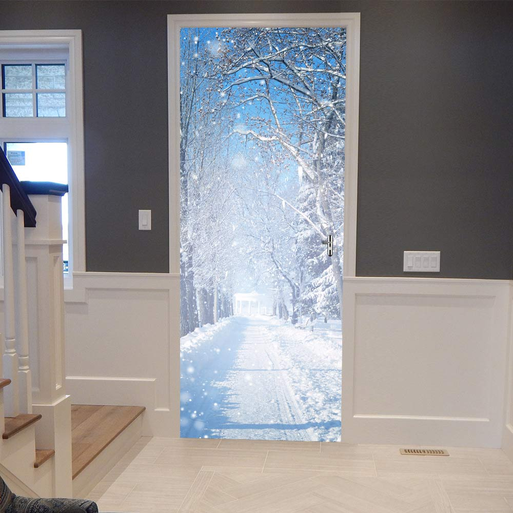 Christmas 3D Snow Road Door Sticker DIY Murals Selfadhesive Wallpaper Removable Waterproof Poster Stickers Home Decor Decals