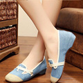 Vintage Embroidery Shoes Canvas Old Peking Cloth Flats Chinese National Style Soft Sole Casual Shoes Women Dance Single Shoes
