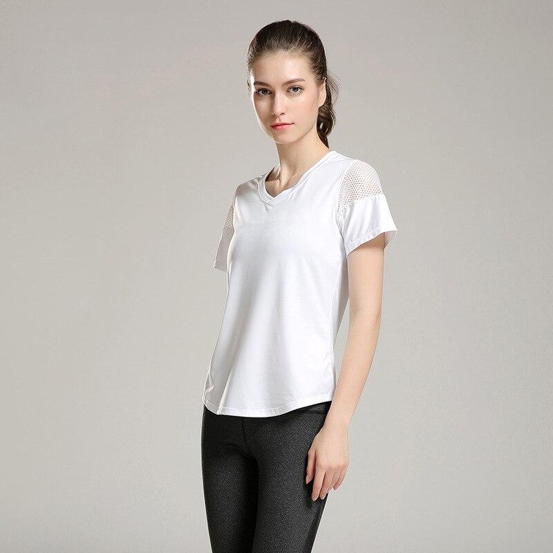 Eshtanga woman short sleeve shirt  Elastic Yoga Mesh Sports T Shirt Fitness Women's Gym Running Black Tops tee free shipping 3
