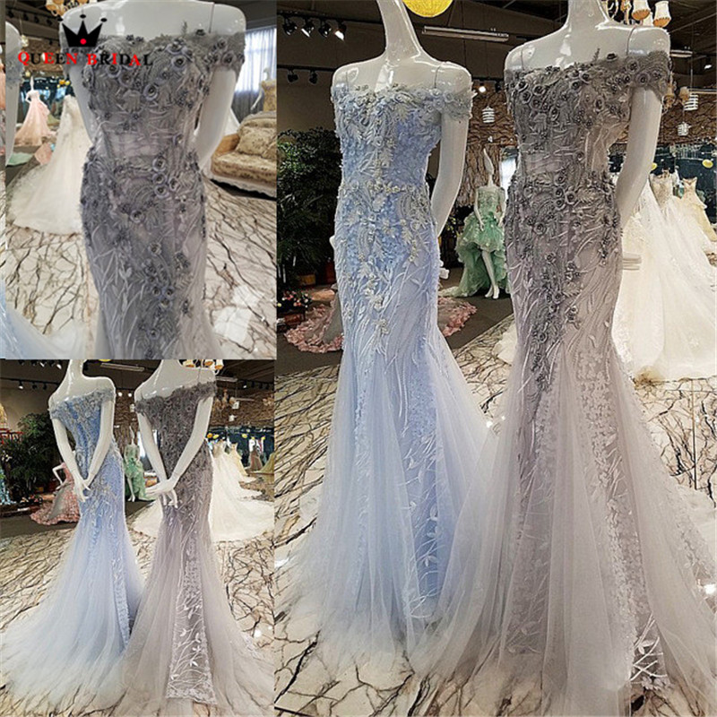 QUEEN BRIDAL Sexy Evening Dresses Long Blue Gray Mermaid Tulle 3D Flowers Beaded Party Gown Prom