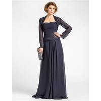 LAN TING BRIDE A Line Strapless Floor Length Chiffon Mother of the Bride Dress with Beading Draping