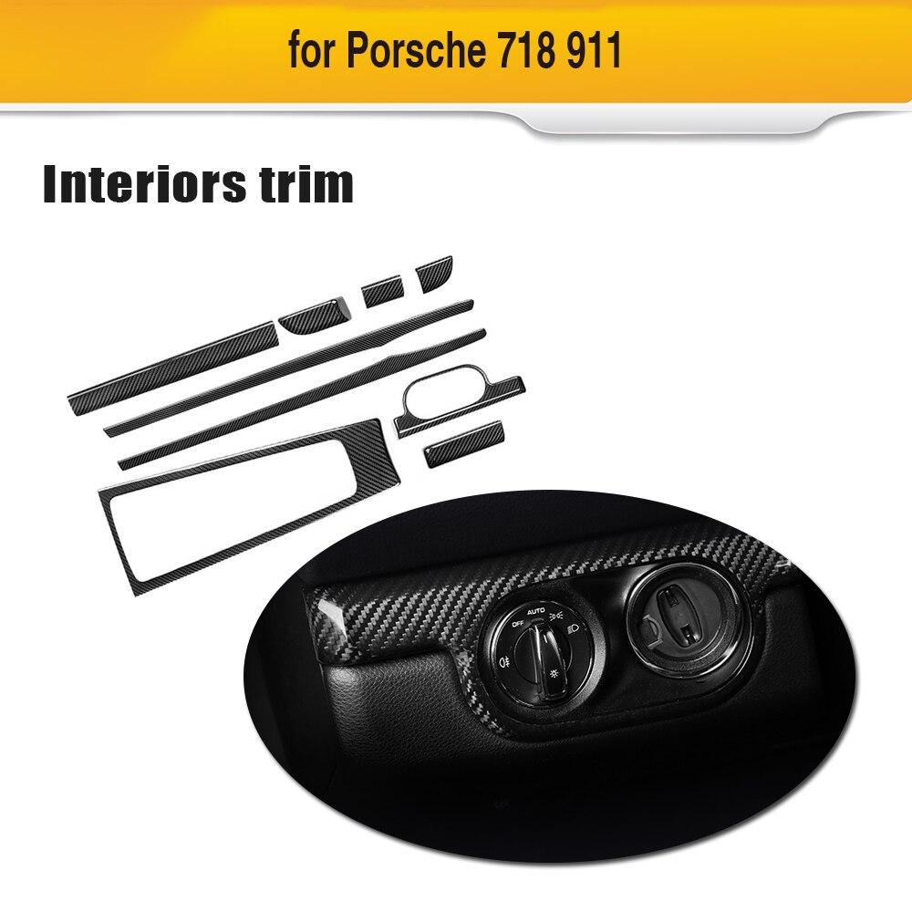 For Porsche Cayenne 718 911 2016 18 Interior Accessories Door Panel Trim Car Central Console Gear Shift Frame 9Pcs Carbon Fiber