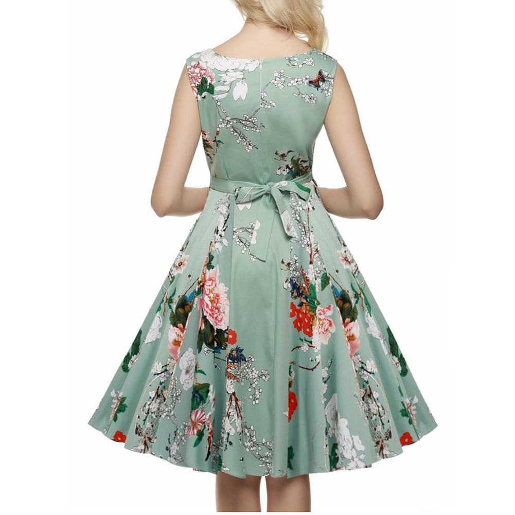 Ruched a line bow floral print dress sleeveless wiggle for Knee length fitted wedding dresses